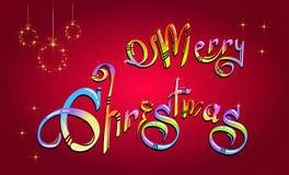 Glad jul räcker utdragen kulör text royaltyfri illustrationer