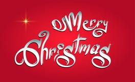 Glad jul räcker utdragen text, stilsorten, typsammansättning royaltyfri illustrationer