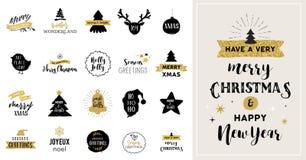 Glad jul räcker utdragna kort, illustrationer och symboler stock illustrationer