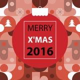 Glad jul, röd signalfärg för geometrisk abstrakt bakgrund Royaltyfri Bild