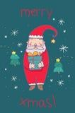 Glad jul Santa Claus stock illustrationer