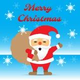 Glad jul - Santa Claus Carrying Gift Bag Among snöflinga royaltyfri illustrationer