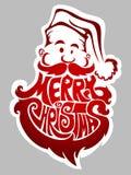 Glad jul. Santa Claus etikett Arkivbild