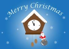 Glad jul, Santa Claus med klockan Arkivbilder
