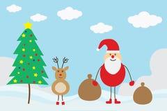 Glad jul Santa Claus med små hjortar med julgranen stock illustrationer