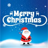 Glad jul Santa Claus och julgran i julsnö royaltyfri foto