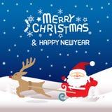 Glad jul, Santa Claus och Rudolph Royaltyfri Fotografi
