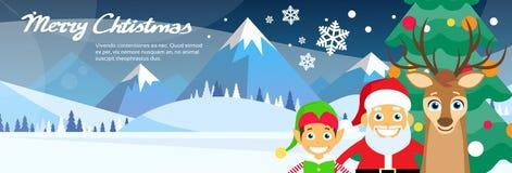 Glad jul Santa Clause Reindeer Elf royaltyfri illustrationer