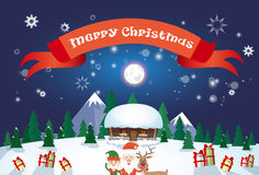 Glad jul Santa Clause Reindeer Elf Character över kort för hälsning för affisch för by för vintersnöhus stock illustrationer