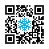 Glad jul Smartphone för läslig QR kod med snöflingasymbolen vektor illustrationer