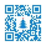 Glad jul Smartphone för läslig QR kod med xmas-trädsymbolen royaltyfri illustrationer
