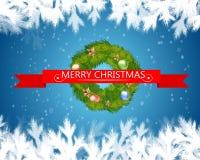 Glad jul smsar i rött band med julträdet på blå bakgrund också vektor för coreldrawillustration Royaltyfri Bild