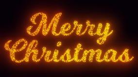 Glad jul smsar på svart bakgrund, 3 stilsortsversioner som flyger gnistor, den 2D animeringen för partiklar lager videofilmer