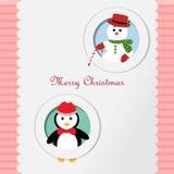 Glad jul snögubbe och pingvin Royaltyfria Bilder