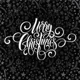 Glad jul som hälsar handskrift, skriver letteringx på en svart tavlahälsning också vektor för coreldrawillustration Fotografering för Bildbyråer