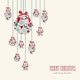 Glad jul som hänger beståndsdelgarneringcompos stock illustrationer
