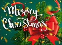 Glad jul som märker hälsningkortet för ferie Guld som skiner Garneringprydnad med med snöflingamodellen Guld- confett royaltyfri illustrationer