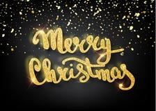 Glad jul som märker hälsningkortet för ferie Guld som skiner Garneringprydnad med med snöflingamodellen Guld- confett vektor illustrationer