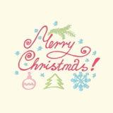 Glad jul som märker, handkalligrafi vektor Arkivfoto
