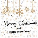 Glad jul som märker med guld- och silverprydnader och kransgarnering av stjärnor, snöflingor lyckligt nytt år vektor illustrationer