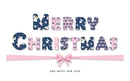 Glad jul som märker med pappers- utklippbokstäver från olika modeller Pastellfärgade rosa färger och mörker - det blåa avtalet fä royaltyfri illustrationer