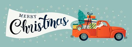Glad jul stiliserade typografi Röd bil för tappning med Santa Claus, julträdet och gåvaaskar Vektorlägenhetstil stock illustrationer