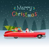 Glad jul stiliserade typografi Röd cabriolet för tappning med Santa Claus, julträdet och gåvaaskar stock illustrationer