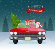 Glad jul stiliserade typografi Röd cabriolet för tappning med Santa Claus, julträdet och gåvaaskar vektor illustrationer
