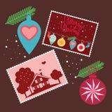 Glad jul - stolpekort Arkivfoto