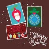 Glad jul - stolpekortdesign Royaltyfria Foton