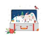 Glad jul, stor öppen resväska med vinterplats och litet folk, unga män och kvinnor, familjer som har gyckel i snö stock illustrationer