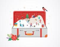 Glad jul, stor öppen resväska med vinterplats och litet folk, unga män och kvinnor, familjer som har gyckel i snö royaltyfri illustrationer