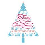 Glad jul, symboler i julgranen Shape Stock Illustrationer