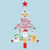 Glad jul, symboler i julgranen Shape Vektor Illustrationer