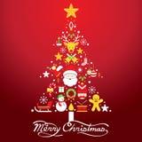 Glad jul, symboler i julgranen Shape Royaltyfri Fotografi