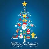 Glad jul, symboler i julgranen Shape Royaltyfri Illustrationer