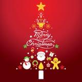 Glad jul, symboler i julgranen Shape Royaltyfria Bilder