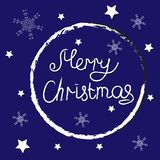glad jul Text med snöflingor vektor illustrationer