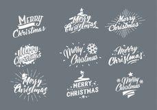 glad jul Typografiuppsättning Vektorillustration som blänker bokstäverdesign Användbart för baner, hälsningkort, gåvor etc. stock illustrationer