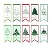 Glad jul, uppsättning för bakgrund för julgranbanerdesign vertikal, vektorillustration Royaltyfri Foto