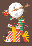 Glad jul ut ur den stora gåvaasken Arkivfoto