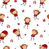 Glad jul, vinterferie, det gulliga flickateckenet firar H royaltyfri illustrationer