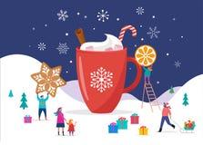 Glad jul, vinterplats med en stor kakao rånar och litet folk, unga män och kvinnor, familjer som har gyckel i snö royaltyfri illustrationer