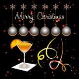 glad jul Xmas-bollar och coctailexponeringsglas vektor illustrationer
