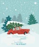 glad julillustration Design för jullandskapkort av den retro röda bilen med trädet på överkanten Arkivbild