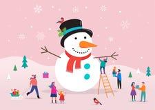 Glad julkort, bakgrund, bannner med den enorma snögubben och litet folk, unga män och kvinnor, familjer som har gyckel royaltyfri illustrationer