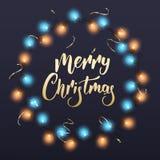 Glad julkort Design för vinterferie med skinande Xmas-girlandljus krans och konfettier royaltyfri illustrationer