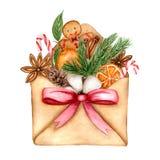 Glad julkort för ljus vattenfärg med beståndsdelar av ett jullynne och en traditionell dekor royaltyfri illustrationer