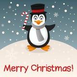 Glad julkort för pingvin Fotografering för Bildbyråer