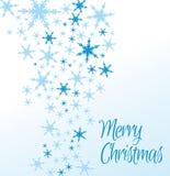 Glad julkort för snöflingor Arkivfoto